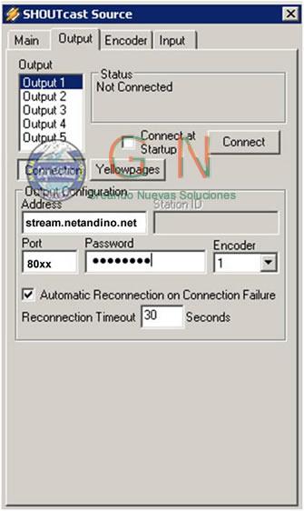 Configuración Winamp para ShoutCast